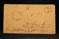 Michigan: Hartland 1850s Stampless Cover, Ornamented Black CDS & Circled PAID 3