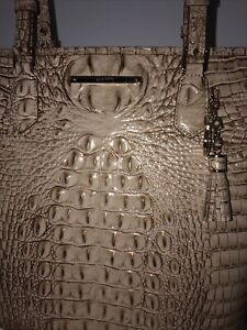 NWT Brahmin Large Asher Tote Bag Color Sand Genuine Leather Croc NWT