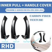 RHD Carbon Fiber Inner Door Pull Handle Panel Trim Cover For BMW 3 E90 E91 E92