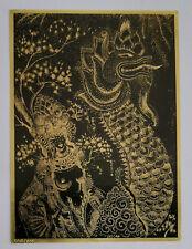 Sascha Brastoff Woman with Dragon Art Drawing Black and Gold