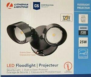 Lithonia Lighting 2-Head Bronze Outdoor Dusk to Dawn LED Round Flood Light