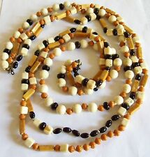 Chunky Triple Strand Lucite Brown Cream Black & Pumpkin Geometric Bead Necklace