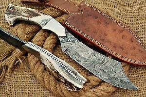 HUNTEX Custom Handmade Damascus Steel 300 mm Long Deer Antler Hunting Bush Knife