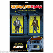 2 Halloween Horror Party UNDEAD ZOMBIES Window Posters Decorations