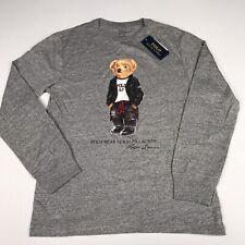Polo Ralph Lauren Big Boys Kids Moto Bear Jersey Tee Shirt L/s Gray Large