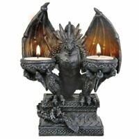 Stone Effect Dragon Double Candle Holder 20 cm Gothic Decor Fantasy Art