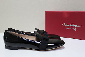 """$445.Till 21-May. """"Salvatore Ferragamo"""" Scotty Black Leather Bow Loafers/ 8.5 M"""
