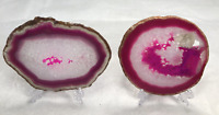 "5"" to 5.5"" Pair Agate Slice Geode Polished Slab Crystal Quartz Selected W/ Stand"