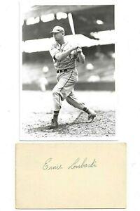 Ernie Lombardi Autographed Govt Postcard Cincinnati Reds Baseball & Brace Photo