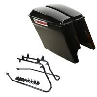 "5"" Extended Saddlebag W/Key + Black Conversion Bracket For Harley Softail Models"
