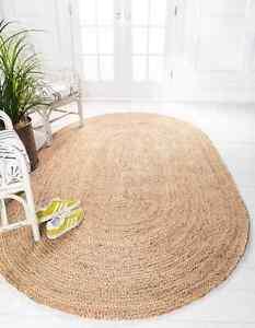 Rug 100% Natural Jute Oval Braided Floor Mat Handmade Living Rustic Look Rug