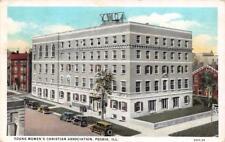 PEORIA, IL Illinois    YWCA Bird's Eye View     STREET & CARS   1931 Postcard