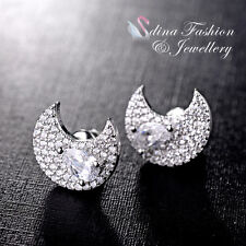 18K White Gold Plated Simulated Diamond Studded Shiny Half Moon Stud Earring