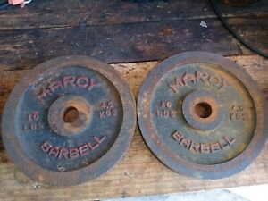 "2 Marcy Barbell Plate Dumbbell Weights 10lbs lb 10 plates 1"" Red Black vintage"
