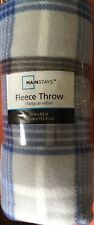 Mainstays Fleece Gray & Blue Plaid Throw Blanket 50x60 NWT