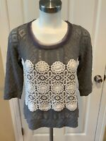 Meadow Rue Anthropologie Gray Loose Knit Top w/ White Lace, Size XS