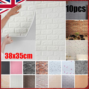 10pcs 3D Tile Brick Wall Sticker Self-adhesive Waterproof Foam Panel Wallpaper ^