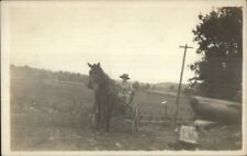 Stairville PA Written on Back Woman Horse Wagon c1910 Real Photo Postcard
