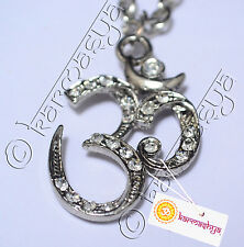 BIG OM AUM RHINESTONE PENDANT PEWTER MALA NECKLACE CHAIN HINDU MEDITATION CHARM