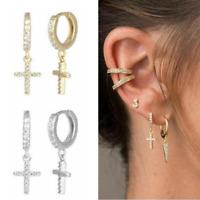925 Sterling Silver Hoop Earrings CZ Cross Drop Dangle Huggie Women