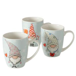 12 Stk Kaffeetassen WICHTEL 350ml Weihnachten n3072 weiss Glühwein Tassen Becher