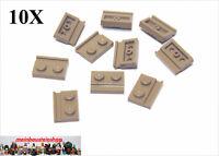 10X Lego® 32028 Platte Plate 1X2 m. Führungsschiene Dunkelbeige Dark Tan NEU
