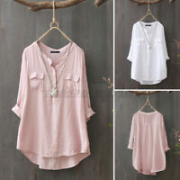 Women Cotton Long Sleeve Shirt Tops High Low Solid Button Baggy Casual Blouse US