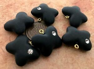 Vintage Matte Black Lucite Butterfly Charms w Rhinestone West Germany 6