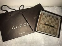 100% Authentic Gucci Brown Tan Wallet With Box and Shopping Bag