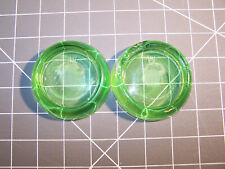Vintage Pair of Anchor Hocking Green Glass Furniture Coaster Caster
