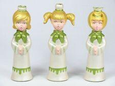 Vintage Christmas Caroler Candle Holder Choir Girls Holiday 3 Singing Ceramic