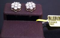 10K Yellow Gold Men/Women's Flower Shape Earring 1.50CT Round Diamond Stud