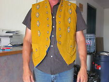 NATIVE AMERICAN LEATHER VEST WITH BEADED DIAMOND DESIGN