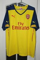 Arsenal London 2014 2015 Puma Away Yellow Shirt Jersey Trikot Size XL