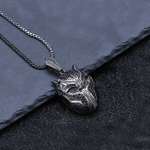 """Mens Black Stainless Steel Lion Head Pendant Necklace with Silver Tone Chain 22"""""""