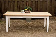 Esstisch Massivholz Landhaustisch Esszimmer Küche Shabby 180 cm M01 weiß natur
