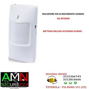 SENSORE DI MOVIMENTO PIR VOLUMETRICO WIRELESS 433 Mhz ANTIFURTO ALLARME