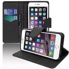 Housse Etui Portefeuille Silicone PU Effet Tissu Gel NOIR Pour Apple iPhone 6
