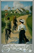 CARLSBERG PILSNER BREWERY CYCLING EMBOSSED METAL ADVERTISING PUB SIGN 30x20cm