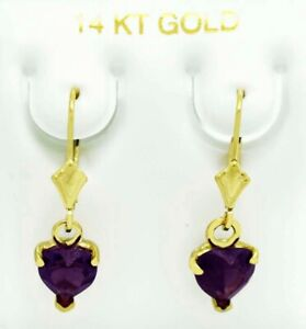 ALEXANDRITE 3.28 Cts  DANGLING HEART EARRINGS 14K GOLD  ** MADE IN USA *