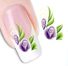 Nail Art Sticker Water Decals Transfer Stickers Purple Flowers (XF1070)