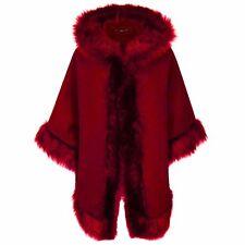 Womens Ladies FAUX FUR PONCHO CAPE Celeb Trim Hooded Jacket Lush Wrap Coat 8-22