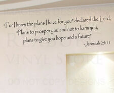 Wall Decal Quote Sticker Vinyl Art Removable God's Plans for You Religious R42