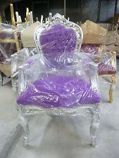 Barockstuhl lila silber Stoff antik Esszimmer Büro Lounge repro SONDERPREIS