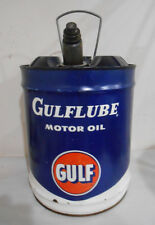 Vintage 5 Gallon Gulf GULFLUBE Oil Can Clean