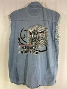 Biketoberfest 2009 17th Anniversary Daytona Beach Denim Sleeveless Shirt Vest XL