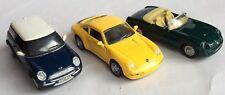 3 x MAISTO - DIECAST TOY CARS - PORSCHE 911 CARRERA, MG RV8 & MINI COOPER