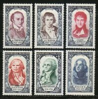 France 1950 MNH Mi 885-890 Sc B249-B254 French revolution.Danton,Robespierre **