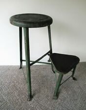 Antique Swing-Out Step Stool Unique Industrial Metal Primitive, Old Green Paint