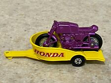 Matchbox Superfast 38a Purple Honda Motorcycle with Trailer